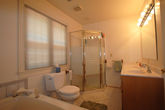 Master bath walkin shower and double vanities