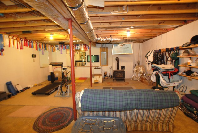 Unfinished area in the basement w/ woodstove