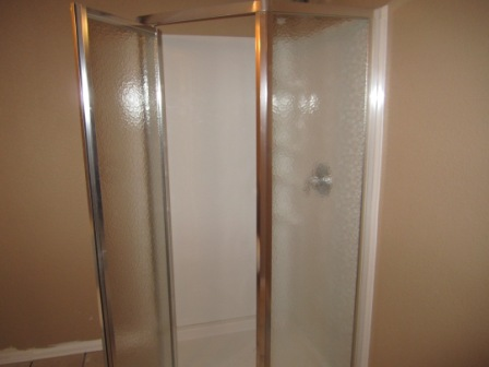 The shower in the basement
