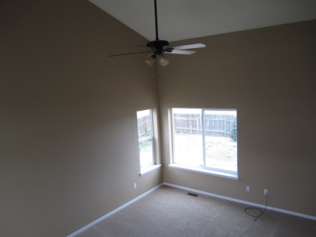 The vaulted ceilings in living room