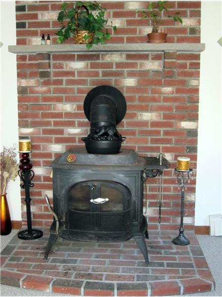 One of two wood stoves