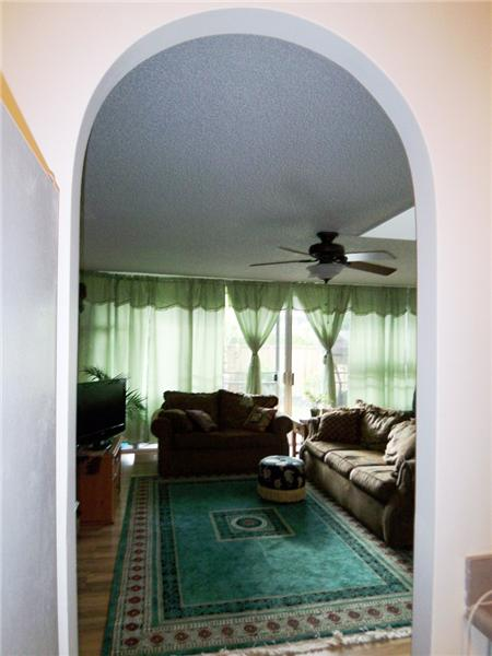 Archway to living from kitchen