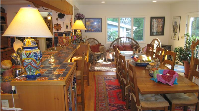 Eat-in kitchen and sitting areas