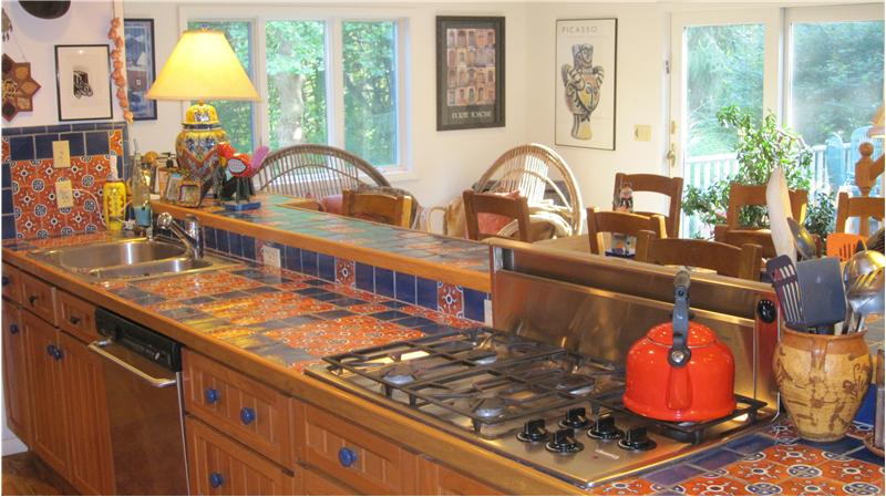 Custom Mexican hand-painted tile countertops